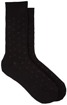 Barneys New York Men's Dot-Print Cotton-Blend Mid-Calf Socks - Brown