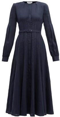 Gabriela Hearst Gertrude Aloe Infused Linen Dress - Womens - Navy