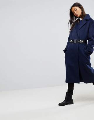 Asos Design Double Breasted Coat With Brooch Belt