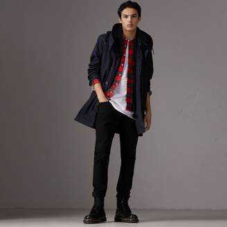 Burberry Detachable Hood Cotton Blend Car Coat with Warmer