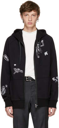 Lanvin Black Skeleton and Flower Zip Hoodie