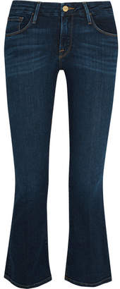 FRAME - Le Crop Mini Mid-rise Bootcut Jeans - Dark denim $230 thestylecure.com