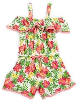 Nannette Little Girl's Floral Cold-Shoulder Romper