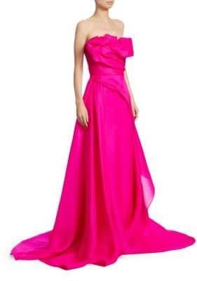 Rubin Singer Strapless Hand-Draped Gown