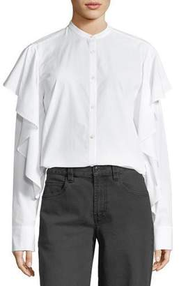 Robert Rodriguez Mandarin-Collar Button-Front Poplin Shirt w/ Ruffled Trim