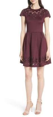 Ted Baker Mesh & Lace Trim Skater Dress
