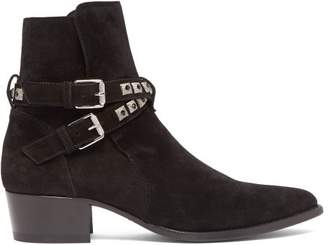 Jodphur Conch Studded Strap Suede Boots - Mens - Black