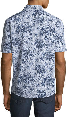 Faherty Men's Coast Indigo Poppy Short-Sleeve Sport Shirt