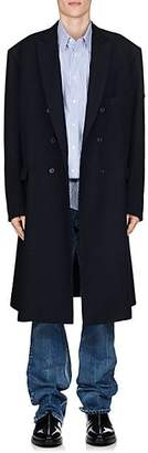 Balenciaga Men's Virgin Wool Twill Double-Breasted Coat - Navy