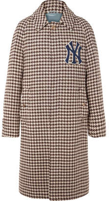 Gucci + New York Yankees Appliqued Houndstooth Wool-Blend Coat