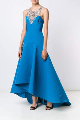 Marchesa Embroidered Neck Gown