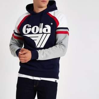River Island Gola navy logo panel print hoodie