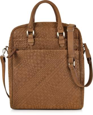 Forzieri Brown Woven Suede Vertical Messenger Bag