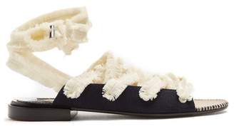 Altuzarra Wraparound Frayed Tie Cotton Espadrilles - Womens - White Navy