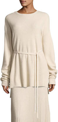 Elizabeth and James Gisella Slouchy Rib-Knit Crewneck Belted Sweater