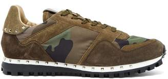Valentino Rockrunner Camouflage Print Trainers - Mens - Green