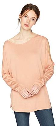 Cable Stitch Women's Asymmetrical Cold Shoulder Tunic Sweater