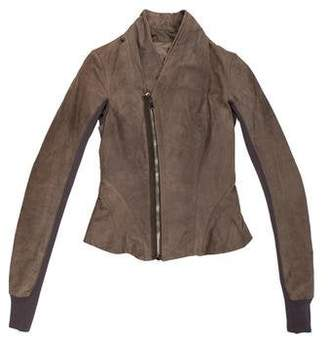 Rick Owens Rib Knit-Trimmed Leather Jacket