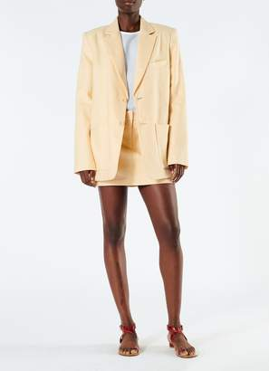 Tibi Linen Canvas Long Blazer