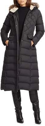 Lauren Ralph Lauren Faux Fur Trim Maxi Puffer Coat