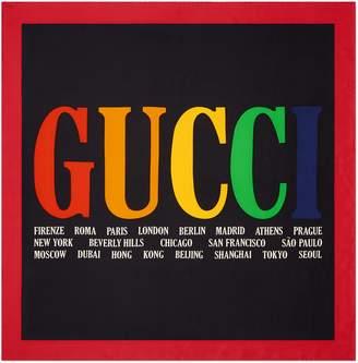 Gucci Cities print silk scarf