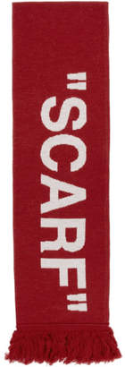 Off-White Off White Red Quote Scarf