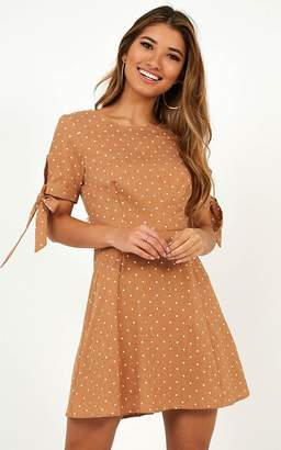 Showpo Too Cute For You Dress in beige spot - 12 (L) Casual Dresses