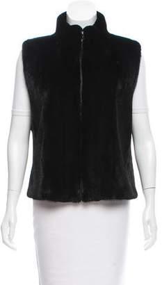 Neiman Marcus Zip-Up Mink Fur Vest