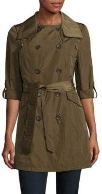 French Connection Solid Double-Breasted Trench Coat