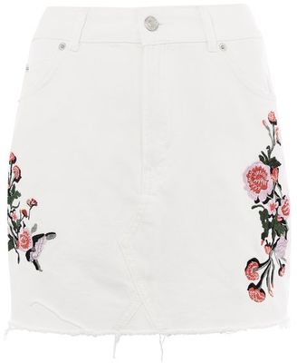 Topshop Moto floral embroidered skirt
