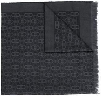 Salvatore Ferragamo logo frayed scarf
