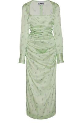 Ganni Silk Stretch Satin Floral Print Midi Dress Size: 36