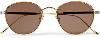 Cartier Eyewear Round-Frame Silver And Gold-Tone Sunglasses
