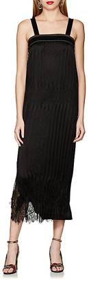 Helmut Lang Women's Lace-Trimmed Crinkle-Pleated Dress