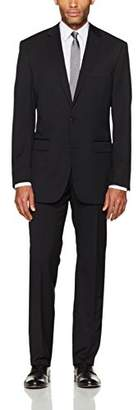 Vince Camuto Men's Modern Fit Black Herringbone 2 Piece Suit