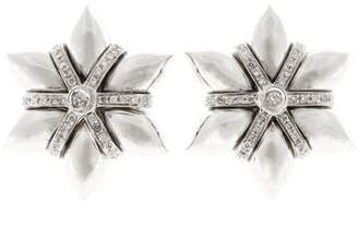 18K White Gold 3-D Dramatic Star Shaped Bead Set Full Diamond Earrings