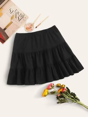 Shein Elastic Waist Ruffle Hem Skirt