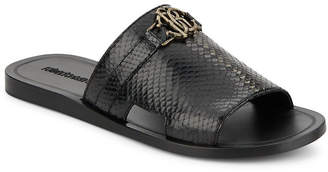 Roberto Cavalli Snake-Embossed Leather Slide Sandals