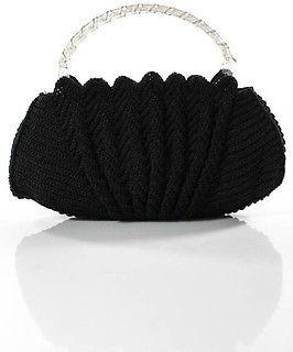 Designer Vintage Black Woven Lucite Twisted Double Handle Shoulder Handbag