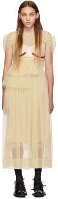 Simone Rocha Beige Beaded Bra Gathered Dress