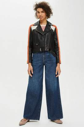 Topshop Motocross Leather Biker Jacket