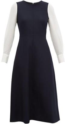 Cefinn - Panelled Wool Blend Midi Dress - Womens - Navy Multi