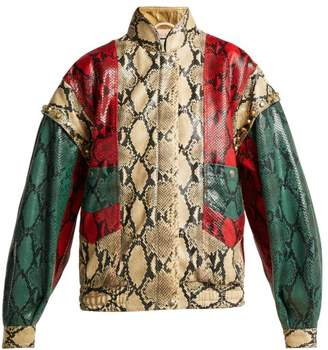 Gucci Python Print Leather Bomber Jacket - Womens - Green Multi