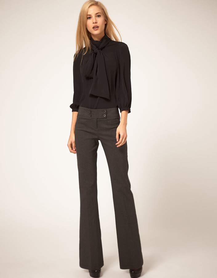 ASOS Kick Flare Pants With Button Detail