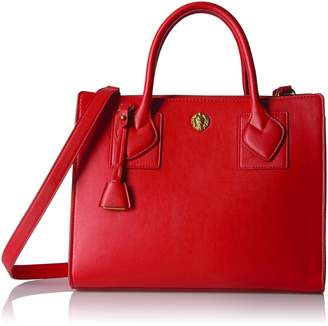 Anne Klein Hillary Medium Square Satchel, Fire Red-Dolphin