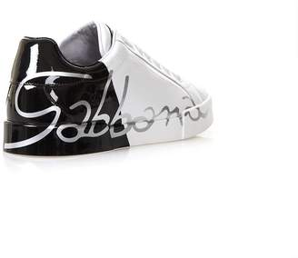 Dolce & Gabbana White Leather Sneakest With Varnished Logo