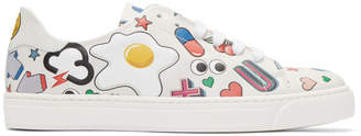 Anya Hindmarch White All Over Wink Stickers Tennis Shoes