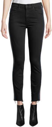 Mother Looker High-Waist Ankle Fray Skinny Jeans w/ Racing Stripes