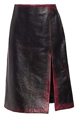 Balenciaga Women's Leather High Slit Pencil Skirt