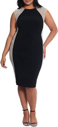 Xscape Evenings Caviar Bead Mesh Velvet Cocktail Dress